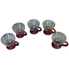 5 Art Nouveau Tea Glasses with Red Base and Holder Engraved
