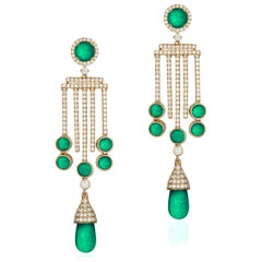 Goshwara  Emerald Drop And Cab With Diamond Earrings