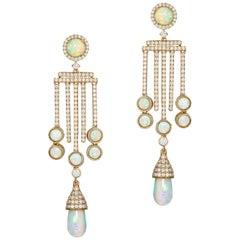 5 Bar Opal Drop-Cab Earrings with Diamonds