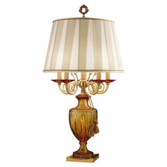 5-Bulbs Abatjour Lamp in Amber Crystal and Golden Details by Modenese Luxury