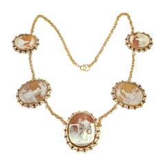 5 Cameo Gold 1940s Carved Shell Necklace Wire Rope Chain
