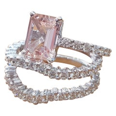 5 Carat 14 Karat White Gold Emerald Morganite Art Deco Style Engagement Ring