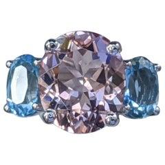 5 Carat 3 Stone 14 Karat White Gold Oval Morganite and Aquamarine Ring