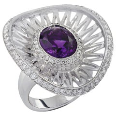 5 Carat Amethyst and Diamond Cocktail Ring