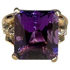 5 Carat Amethyst and Diamond Cocktail Ring in 14 Karat Yellow Gold
