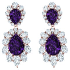 5 Carat Amethyst and Diamond Drop Earrings