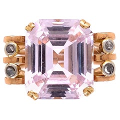 5 Carat Amethyst and Diamond Rose Gold Retro Cocktail Ring