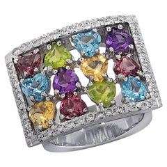 5 Carat Amethyst, Tourmaline, Topaz, Peridot, Citrine and Diamond Ring