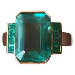5 Carat Approximate Emerald Fluorite and Green Emerald Ring, Ben Dannie