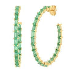 5 Carat Approximate Green Emerald Gemstone Baguette Hoop Ear Rings, Ben Dannie