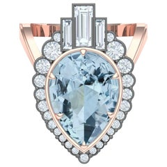 5 Carat Aquamarine and Diamond Rose Gold Ring