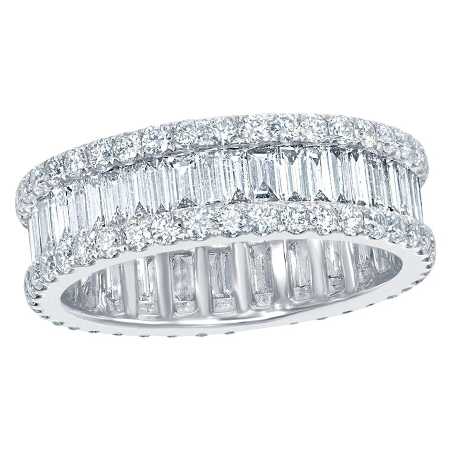 5 Carat Baguette and Round Diamond Eternity Ring