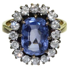 5 Carat Blue Ceylon Sapphire with Diamonds on Gold Engagement, Wedding Ring