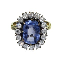 5 Carat Blue Ceylon Sapphire Diamonds 18K Yellow Gold Engagement Ring