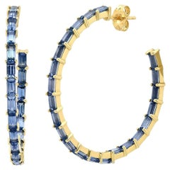 5 Carat Blue Sapphire Gemstone Baguette Hoop Ear Rings, Ben Dannie