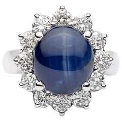 5 Carat Blue Star Sapphire and Diamond Ring