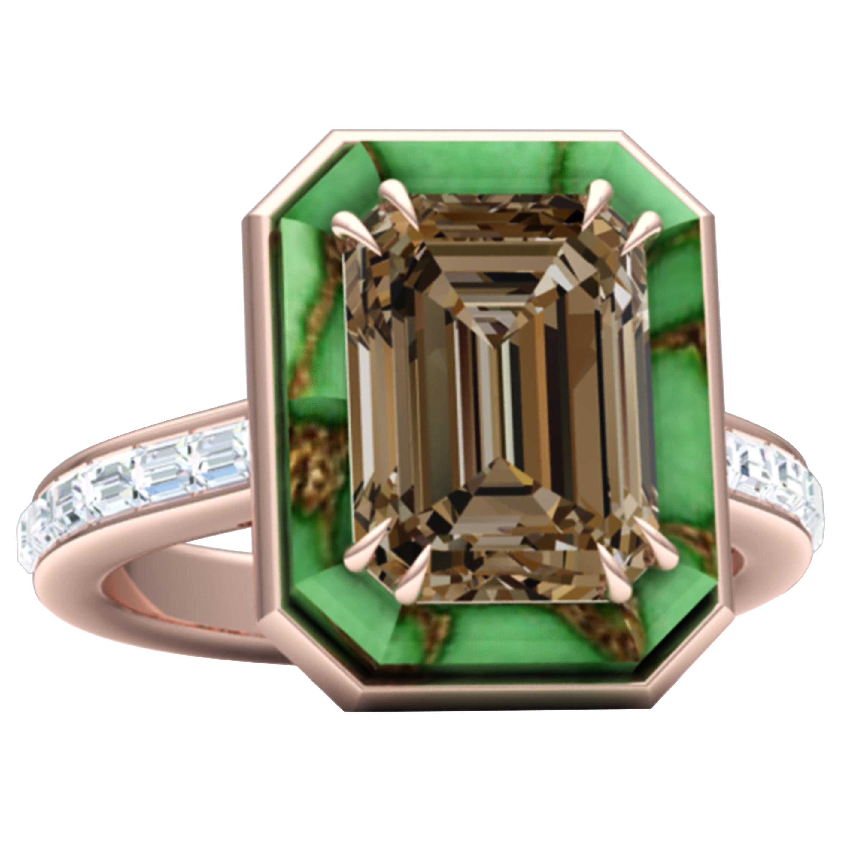 5 Carat Brown Cognac Sapphire Turquoise and Diamond Cocktail Ring