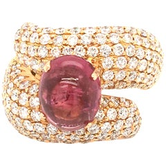5 Carat Cabochon Pink Tourmaline and 3.17 Carat Diamonds Pave Fashion Rose Ring