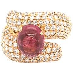 5 Carat Cabochon Pink Tourmaline and 3.17 Carat Diamonds Pave Fashion Rose Ring