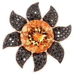 5 Carat Citrine and Black Diamond Ring in 14 Karat Rose Gold