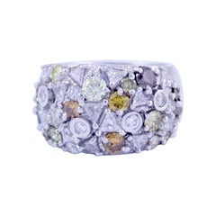 5 Carat Cluster Fancy Colored Diamond Dome Cigar Band Ring 14k White Gold