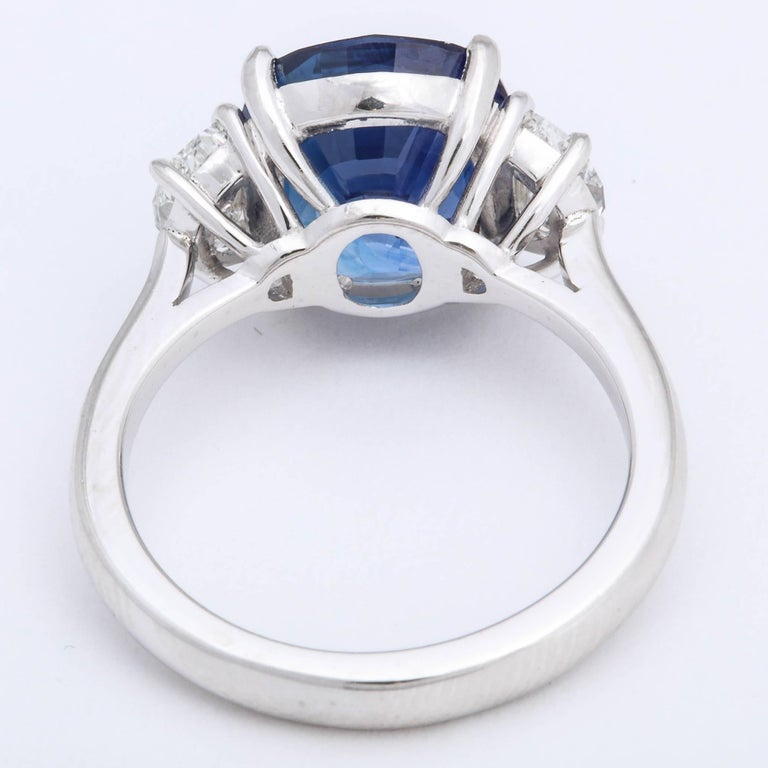 Women's or Men's 5 Carat Cushion Cut Blue Sapphire and Diamond Ring For Sale