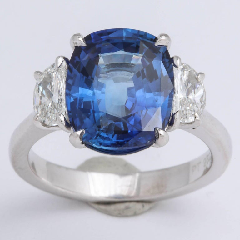 5 Carat Cushion Cut Blue Sapphire and Diamond Ring For Sale 2