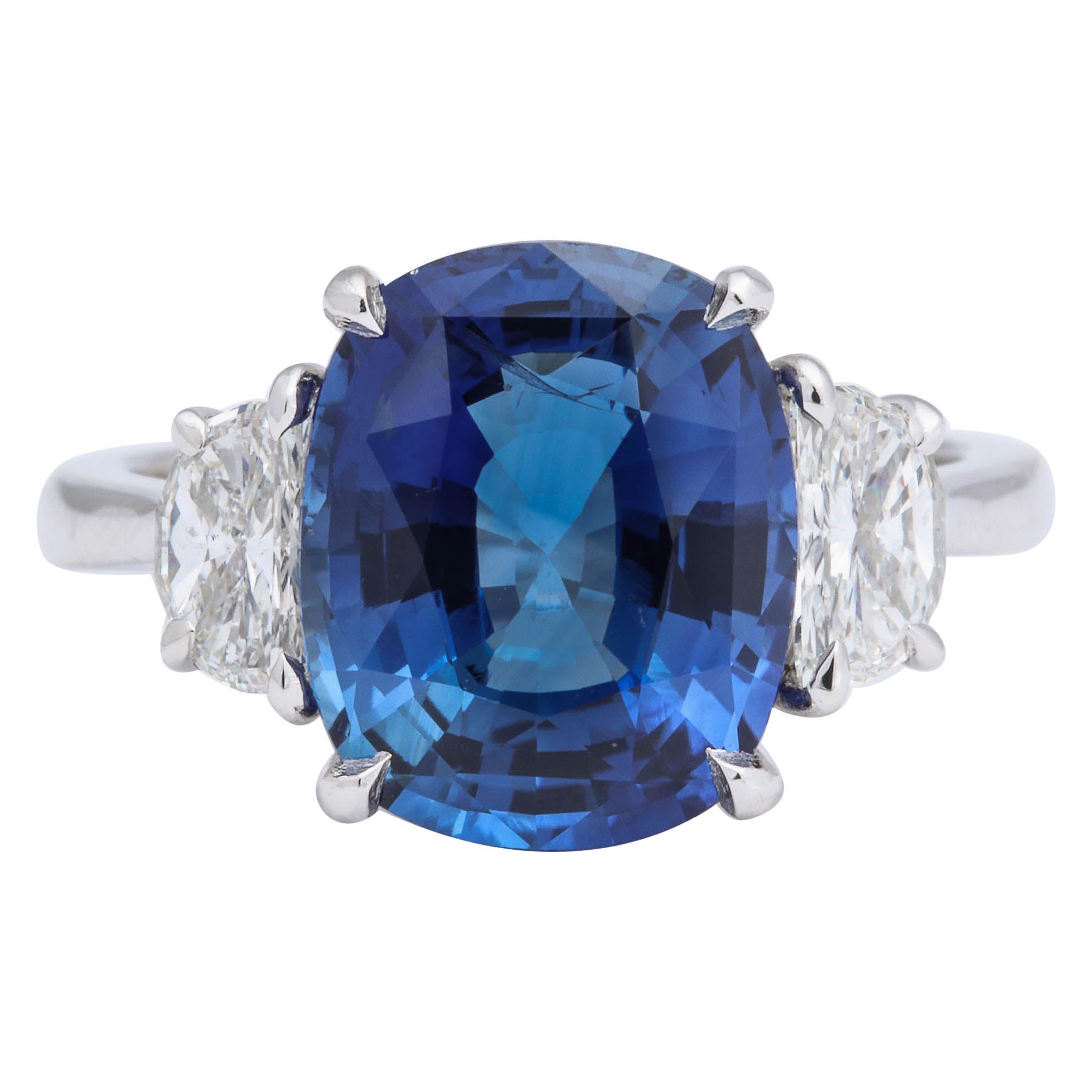 5 Carat Cushion Cut Blue Sapphire and Diamond Ring