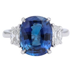 5 Carat Cushion Cut Blue Sapphire and Diamond Ring