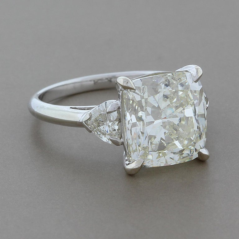 5 Carat Cushion Cut Diamond Gold Engagement Ring For Sale