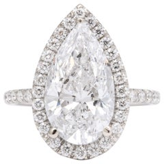 5 Carat D Color Pear Shape Engagement Ring GIA Certified