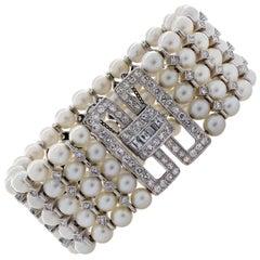 5 Carat Diamond and Pearl Bracelet