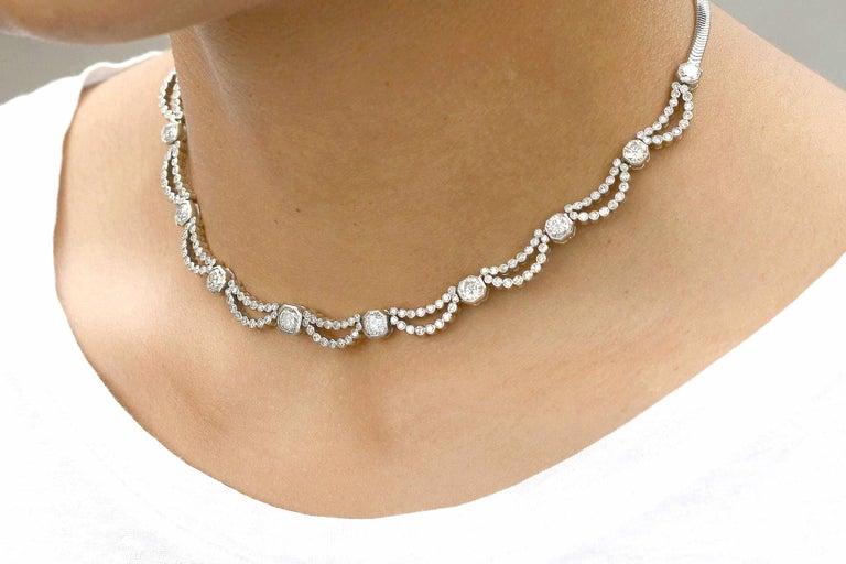 Brilliant Cut 5 Carat Diamond Art Deco Waterfall Necklace Scalloped Bib Snake Chain Platinum For Sale