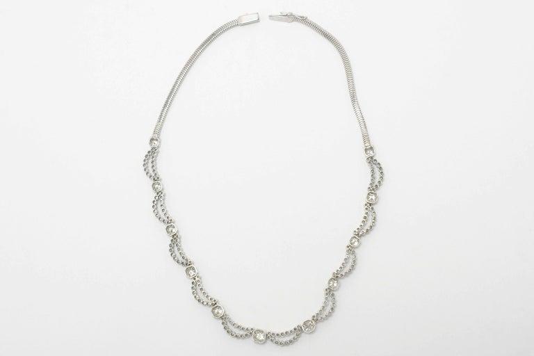 5 Carat Diamond Art Deco Waterfall Necklace Scalloped Bib Snake Chain Platinum In Good Condition For Sale In Santa Barbara, CA