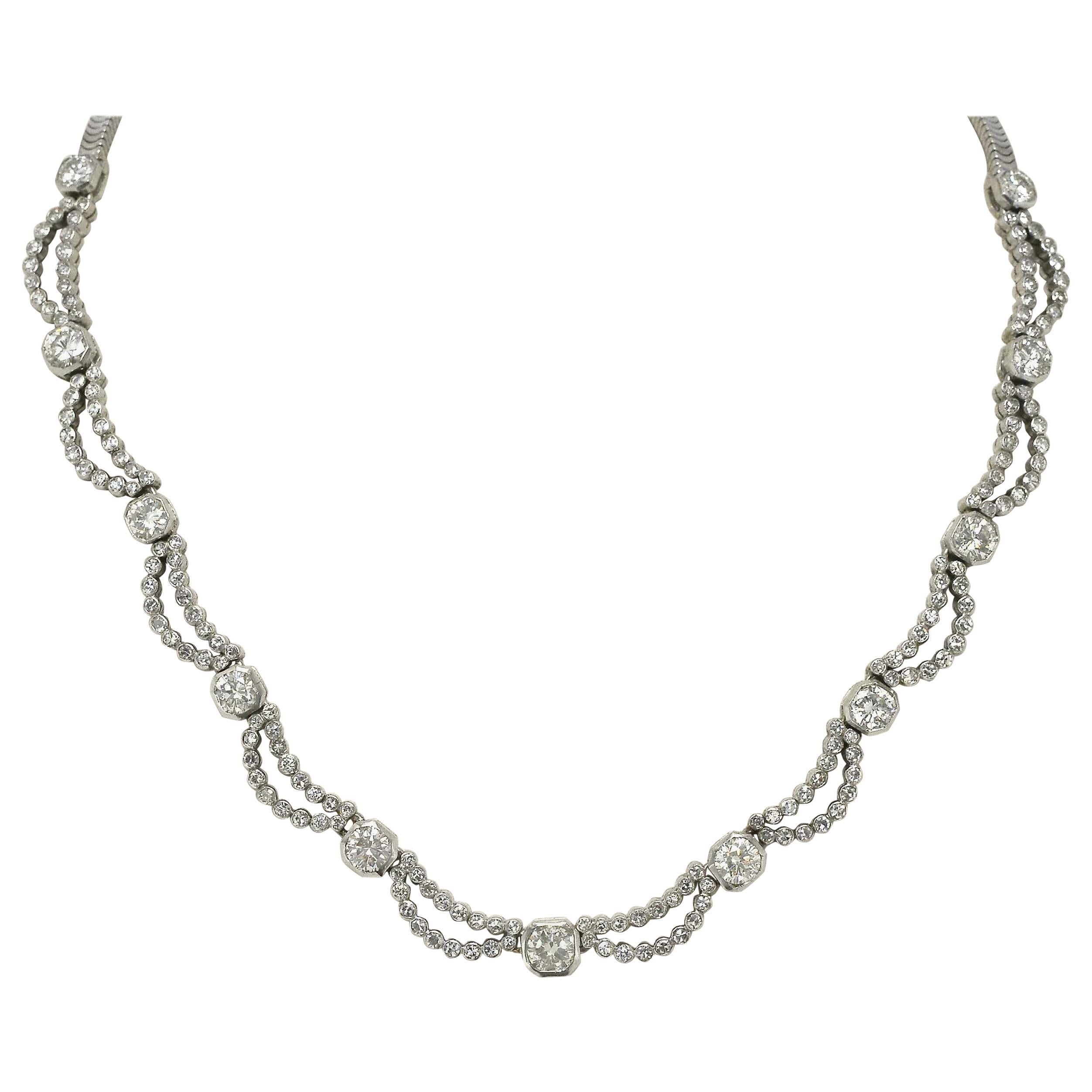 5 Carat Diamond Art Deco Waterfall Necklace Scalloped Bib Snake Chain Platinum