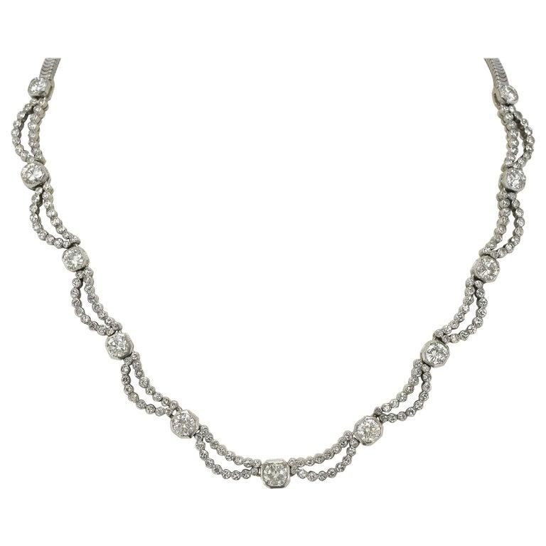 5 Carat Diamond Art Deco Waterfall Necklace Scalloped Bib Snake Chain Platinum For Sale