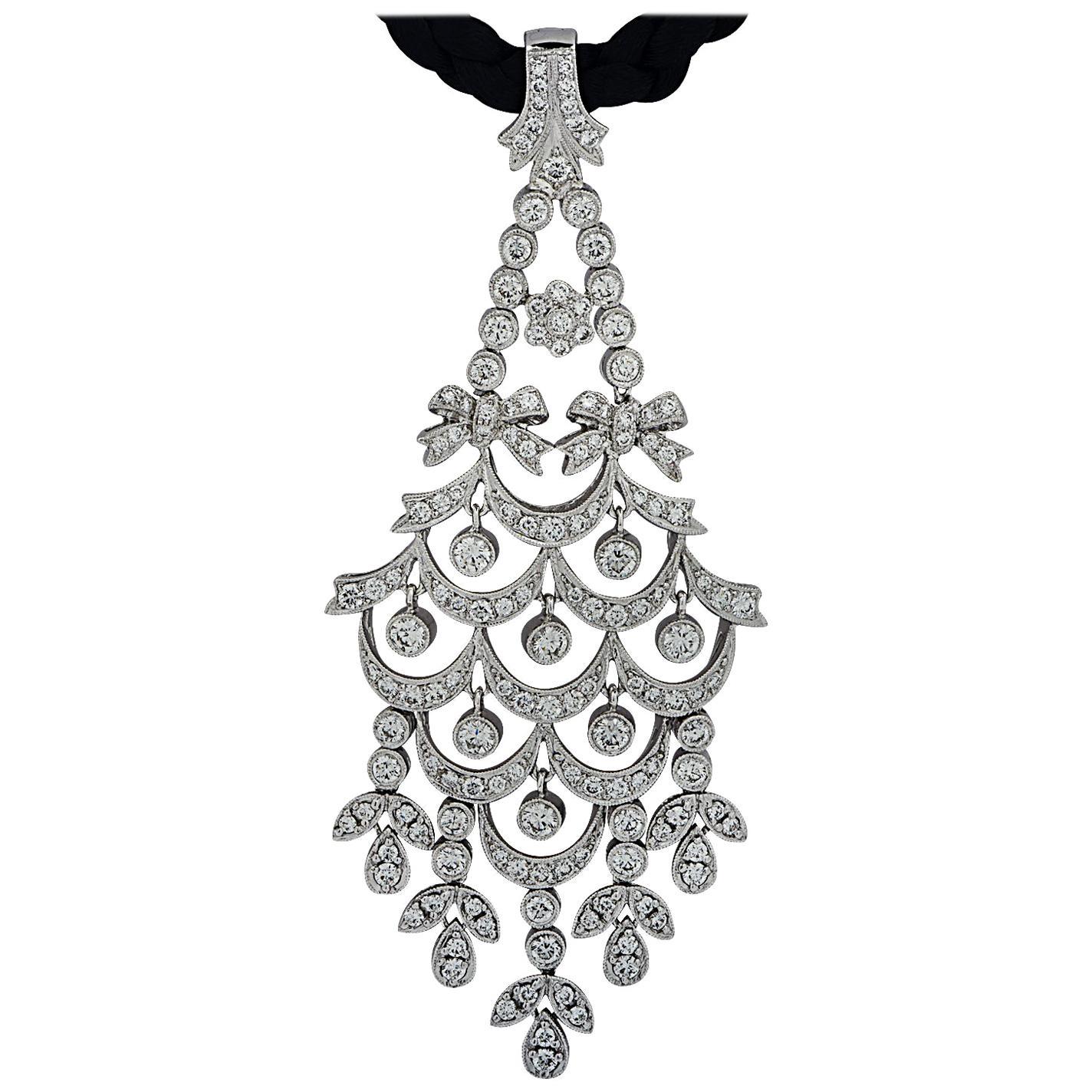 5 Carat Diamond Chandelier Pendant Necklace