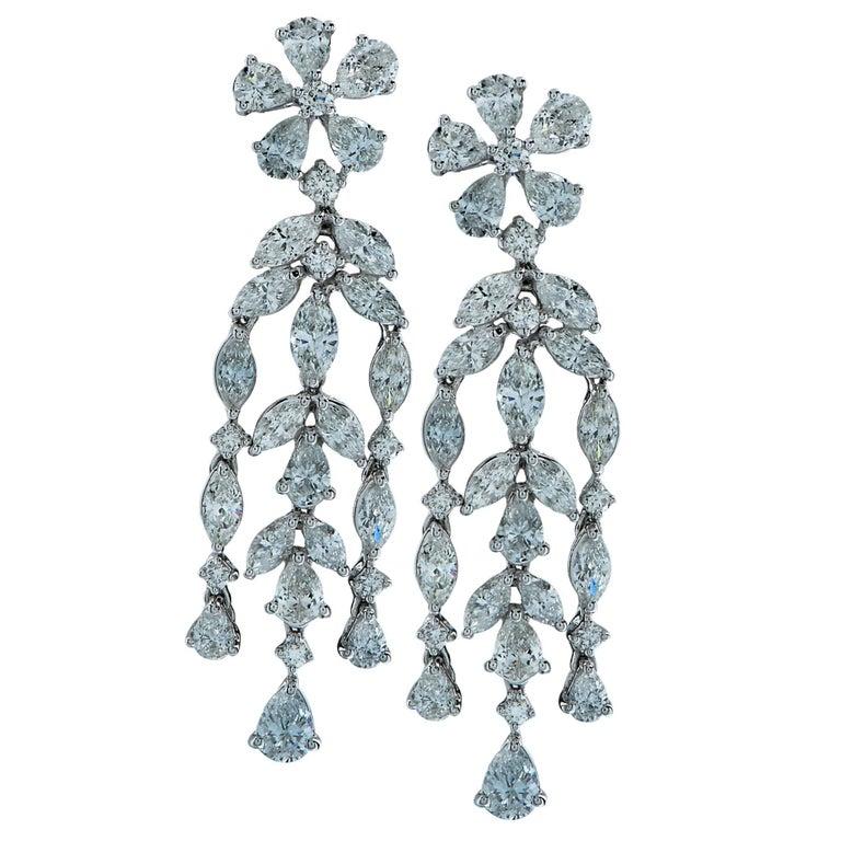 5 Carat Diamond Dangle Earrings For Sale