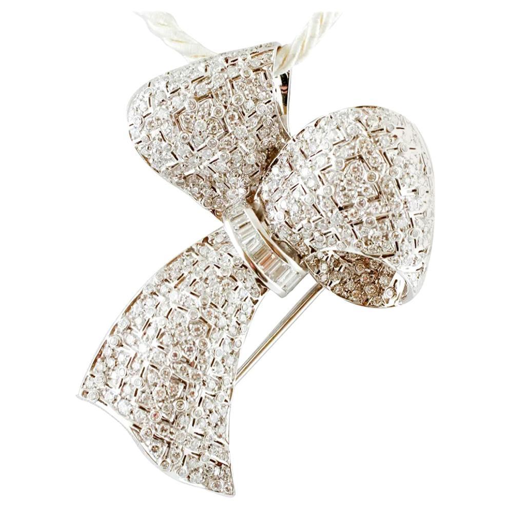 5 Carat Diamonds, 18 Karat White Gold, Ribbon Brooch