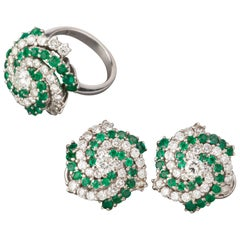 5 Carat Diamonds and 4 Carat Emeralds Ring and Earrings Set