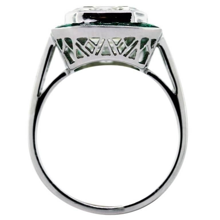 5 Carat Emerald Cut Diamond with Emeralds Engagement Ring In Excellent Condition For Sale In Boca Raton, FL