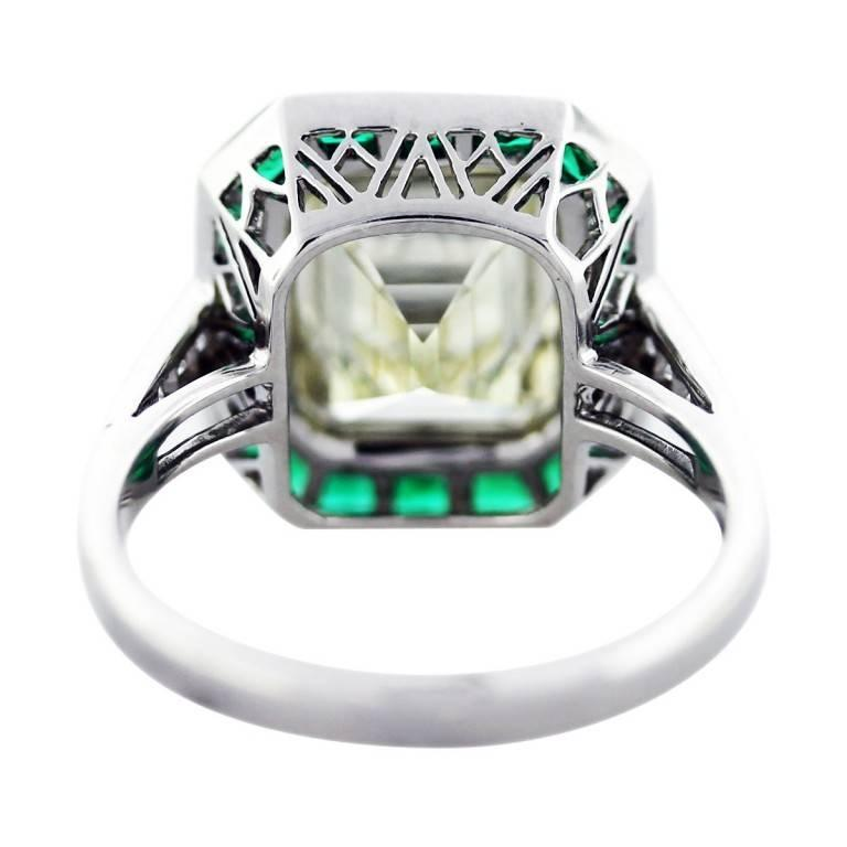 Women's 5 Carat Emerald Cut Diamond with Emeralds Engagement Ring For Sale