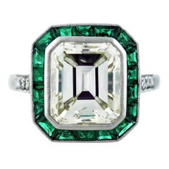 5 Carat Emerald Cut Diamond with Emeralds Engagement Ring