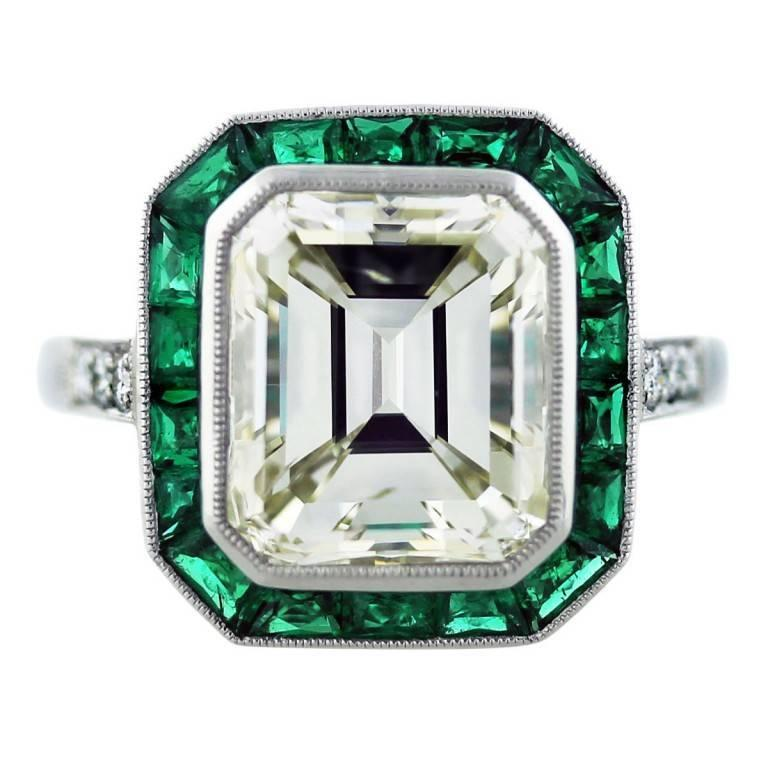 5 Carat Emerald Cut Diamond with Emeralds Engagement Ring For Sale