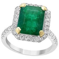 5 Carat Emerald Cut  Natural Emerald and Diamond 18 Karat Gold Ring Estate