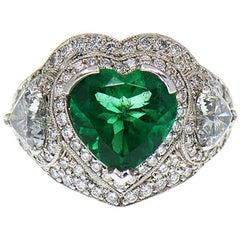 5 Carat Fine Colombian Heart Shape Emerald & Diamond Pave' Platinum Ring, GIA