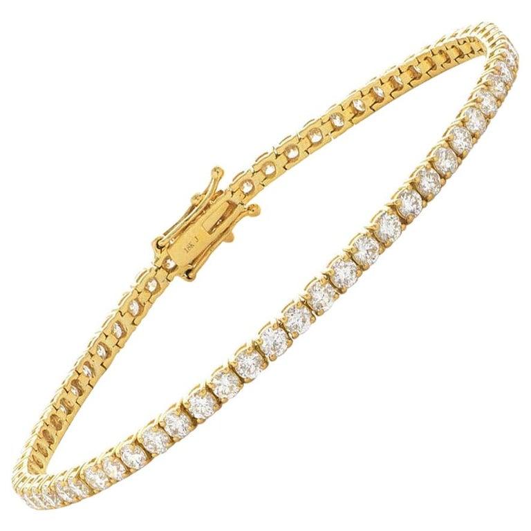 5 Carat Four Prong Round Diamond 18 Karat Gold Riviera Line Tennis Bracelet For Sale