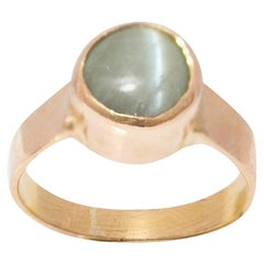 5 Carat Green Chrysoberyl Cat's Eye 18 Carat Yellow Gold Ring