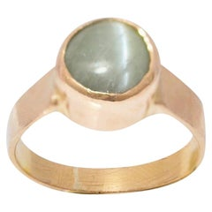 5 Carat Green Chrysoberyl Cat's Eye 18 Carat Yellow Gold Ring