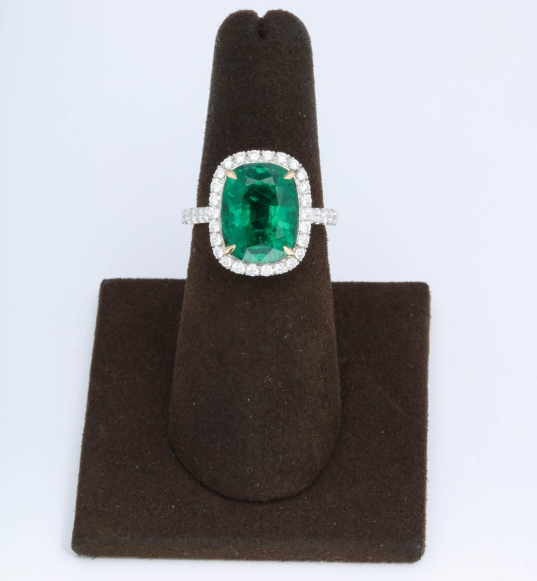 5 Carat Green Emerald Cushion Cut Diamond Halo Ring GIA Certified No Oil In New Condition In New York, NY